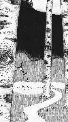 Eye In Woods Pencil Drawing Art Illust iPhone Wallpapers