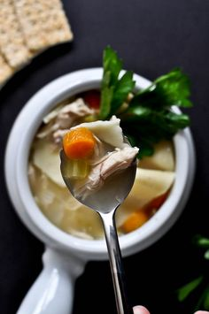 Easy Roasted Chicken Noodle Soup | howsweeteats.com #soup #chicken #noodle