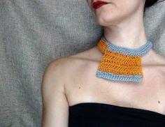 Paper yarn necklace orange necklace yarn jewelry by WearitCrochet