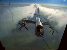 The long-range nuclear bomber Tupolev Tu-95 (NATO reporting name: BEAR) -  Seen here during midair refueling.