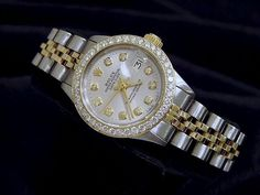 028b8411fb0 Rolex Datejust Lady 14K Yellow Gold  amp  Steel Watch Silver Diamond Dial  1ct Bezel