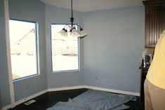 The First Big Reveal: Kitchen Sherman Williams, Bed Wrap, Blue Bedroom, Master Bedroom, Master Bath, Hanging Light Fixtures, Decorating On A Budget, Interior Decorating, Cozy Cottage
