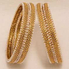Bored of wearing your gold plated bangles or looking out for something more classy yet ethnic? brings you one of its most exquisite designs in bangles. Plain Gold Bangles, Gold Bangles Design, Gold Plated Bangles, Gold Jewellery Design, Diamond Jewellery, 18k Gold Jewelry, Bollywood Jewelry, Indian Jewelry, Lady