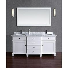 Pep up the interiors of your bathroom space by giving it a regal touch through the Stufurhome Cadence White 60 inch Double Sink Bathroom Vanity Set. This gorgeous unit offers a breakfront styling, whi Double Sink Bathroom, Double Sink Vanity, Vanity Set With Mirror, White Vanity, Bathroom Sink Vanity, Modern Bathroom, Bathroom Ideas, Master Bathroom, Condo Bathroom