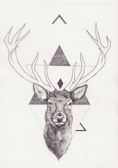 Art and Illustration by Peter Carrington Art And Illustration, Hirsch Illustration, Tattoos 3d, Hirsch Tattoo, Geometric Deer, Geometric Drawing, Geometric Designs, Inspiration Art, Science Art