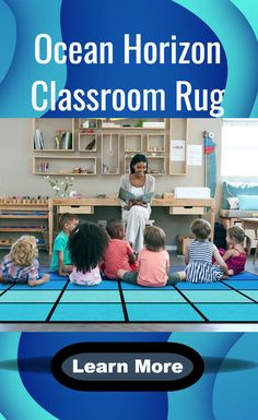 """Teach kids about all things sea on the Ocean Horizon Classroom Rug. Reel them in with stories of famous voyages, trips to faraway lands and life on a shipping vessel to a giant cruise ship.   Sizes:  6' x 8'4 -24 Seats are 18.5"""" x 16.5"""" 7'6 x 12' - 30 Seats are 22.5"""" x 16.5""""  SensoryEdge Exclusive  Made in the U.S.A.  Highest fiber density, with an infusion dye process. Ensures bright and lasting color. Anti-Microbial and AntiI-Static Treatment Classroom Organization, Classroom Management, Classroom Rugs, Ocean Horizon, Going To California, Indoor Air Quality, Learning Activities, Teaching Kids, School"""