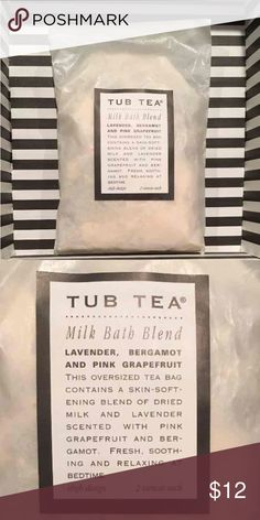 """Tub Tea milk bath """"tea bag"""" Lavender, bergamot, and pink grapefruit   This oversized tea bag contains a skin softening blend of dried milk and lavender scented with pink grapefruit and bergamot. Fresh, soothing and relaxing at bedtime.  Wax paper packing is leaking a bit of the powder. I've re-sealed.  2 oz one tubs worth  Cross posted Other"""