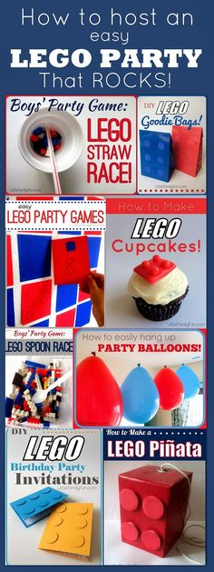 Fun and EASY Lego Party Ideas! How to Plan a Lego Party that Rocks! Lego Games, Lego Cupcakes, Lego Invitations, Lego Goodie Bags, etc.