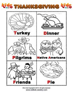 Thanksgiving Flashcards http://www.eslkidz.com/