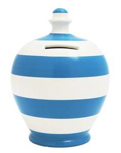 Stripe Money Pot White and Blue - D5