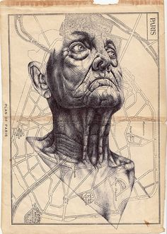Mark Powell drawings using Bic Biro ballpoint pen on envelopes, maps, and newspaper.