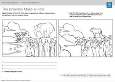 the golden calf free coloring page Exodus 32, Exodus Bible, Bible Story Crafts, Bible Stories, Golden Calf, Religion, Catholic Crafts, Bible Coloring Pages, Bible Activities