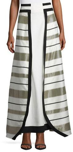 Zeus and Dione Graphic Metallic Stripe Maxi Skirt, Gold/White