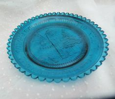 Pairpoint Glass Blue Cup Plate Small Dish - Congregational Church Newton, MA