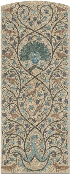 "Damascus Gate Peacock Panel 36"" x 90""  by Appomattox Tile Art"