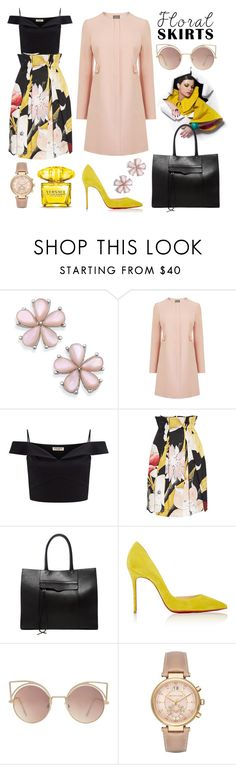 """""""floral skirt 5"""" by minaagar on Polyvore featuring Lipsy, Vivienne Westwood Anglomania, Rebecca Minkoff, Christian Louboutin, MANGO, Michael Kors and Versace"""