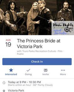 TONIGHT. THE PRINCESS BRIDE. VICTORIA PARK.
