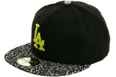 New Era 2Tone Los Angeles Dodgers Fitted Hat - Black, Gray, Neon Yellow