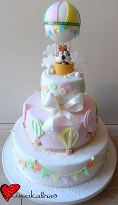 Incoming squirrel landing on this adorable baby shower cake. Pretty Cakes, Beautiful Cakes, Amazing Cakes, Torta Baby Shower, Bolo Fack, Hot Air Balloon Cake, Just Cakes, Cake Decorating Techniques, Creative Cakes