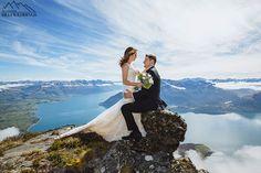 Bride & Groom have wedding ceremony on Walter Peak  Afton Peak, mountain wedding ceremony Queenstown New Zealand