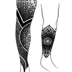 Woodfarm (@woodfarm) • Instagram photos and videos Geometric Mandala Tattoo, Geometric Tattoo Design, Geometric Pattern Design, Lion Tattoo Sleeves, Dragon Sleeve Tattoos, Body Art Tattoos, Tribal Tattoos, Polynesian Leg Tattoo, Devil Tattoo
