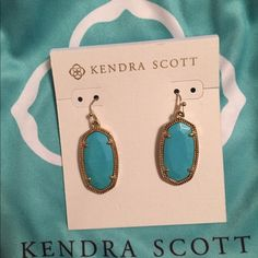 NWT- Kendra Scott turquoise Dani earrings Brand new Kendra Scott turquoise dani earrings with gold hardware. Perfect condition, beautiful turquoise stone.   Will only trade for a white drusy Elisa, Ivory Eleanor or turquoise/ gold Elle's. Kendra Scott Jewelry Earrings