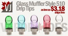 Glass and Steel Muffler Style 510 Drip Tips - 5 Colors