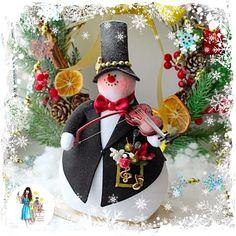 Новый год 2017 ручной работы. Ярмарка Мастеров - ручная работа. Купить Снеговик уличный скрипач. Handmade. Снеговик, новогодний подарок