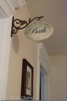 How to make a hallway sign -cute! Love this idea for the hall bath