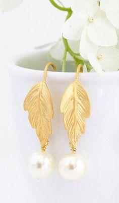 Ivory Pearl Earrings Gold Leaf Earrings