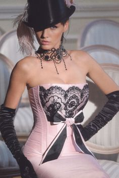 Pink with black lace