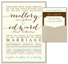 Posh Traditional Clutch Wedding Invitation | by The Green Kangaroo, Inc.