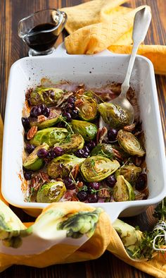 A savoury holiday favourite in Masterchef Canada judge Michael Bonacini's household. Dried Cranberries, Vegetable Salad, Appetizer Recipes, Side Dishes, Food And Drink, Cooking Recipes, Supper Ideas, Brussels Sprouts, Pecans
