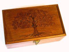 "Tree of Life Pyrography Memory Box: 9.5"" x 6.5"" Keepsake Box, Jewelry Box, Memorial Box or Wedding Box"