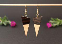 Boucles d'oreilles en marqueterie bois - triangle noir et écru : Boucles d'oreille par marqueterie-49
