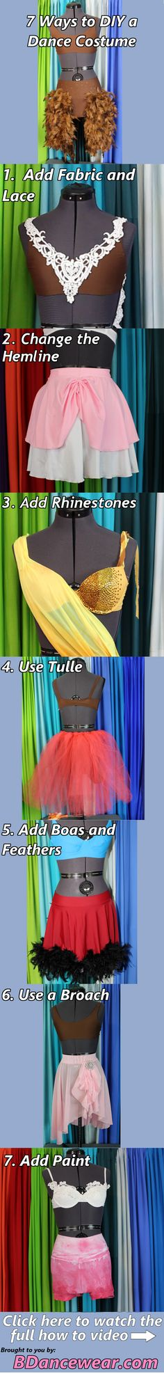 7 Ways to DIY Your Dance Costume including adding fabric and lace, changing the hemline, adding rhinestones, using tulle, adding boas and feathers, using a broach and adding paint.