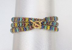 wrap bracelet bead superduo multicolor beaded by beadnurse on Etsy...love this color combination