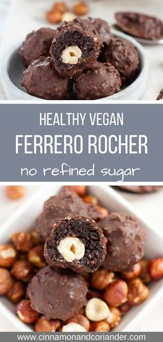 Healthy Vegan Ferrero Rocher Chocolates - - These healthy Homemade Ferrero Rocher Balls are vegan, sugar-free and gluten-free. The perfect Christmas food gift or sweet treat for the holidays! Sugar Free Desserts, Sugar Free Recipes, Easy Desserts, Dessert Recipes, Baby Recipes, Frosting Recipes, Brownie Recipes, Cheesecake Recipes, Potato Recipes