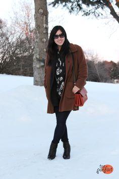 vintage oversized caramel coat x black mcqueen scarf :: orange chocolate truffle