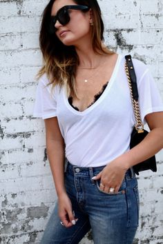 closet staples, the perfect tee and bralette via For All Things Lovely | white tee with classic boyfriend denim  |  Top: Anine Bing {the perfect boyfriend tee + so soft} | Denim: Levi's | Shoes: Valentino | Handbag: Chanel | Bralette: Anine Bing  | Sunglasses: Cèline | Lips:  MAC Liner 'Stripdown' + MAC Lipstick 'Blankety'