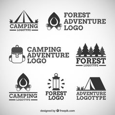 Summer camp with design elements. Camping and outdoor adventure emblems. Vintage typography design with rv trailer, camping tent, man with guitar and forest silhouette. Free Logo Psd, Free Logo Templates, Tent Logo, Seven Logo, Photoshop Logo Templates, Forest Logo, Camping Drawing, Camp Logo, Forest Silhouette