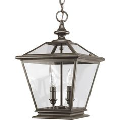 Keep your outdoor decor as lovely as your indoor setting with this elegant Progress Lighting fixture suitable for foyers, porches or other covered outdoor spaces. A brown-finished steel frame supports clear glass panels, creating a retro-inspired design.