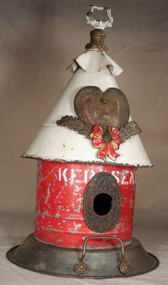 "Birdhouse, Metal Birdhouse, Reclaimed Objects Birdhouse, ""Eternal Flame"". $125.00, via Etsy."