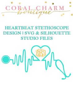 Monogram Heartbeat Stethoscope File for Cutting Machines | SVG and Silhouette Studio (DXF)