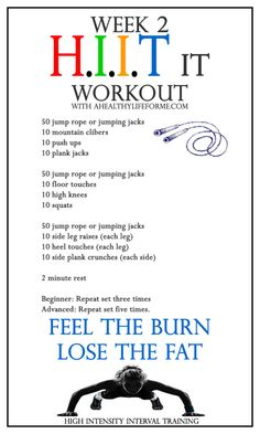 HIIT Workout Week 2 - A Healthy Life For Me