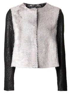 DROME - Perforated Lamb Leather Shearling Jacket - DPD2259 D402 BLACK/POWDER - H. Lorenzo