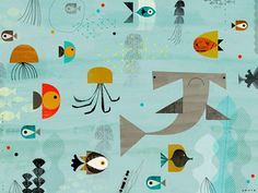 MidCentury Modern Kids Decor: Oopsy daisy, Fine Art for Kids Mid-Century Aquatic Stretched Canvas Art by Dante Terzigni, 24 by 18-Inch - Midcentury Modern Apartment