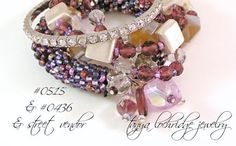 """Tanya Lochridge Jewelry Purple Banded Agate & Czech Glass 3-Strand Bracelet stacked with a vintage heart """"friendship"""" bracelet from my collection & a bangle I bought from a street vendor in NYC. #tanyalochridgejewelry"""