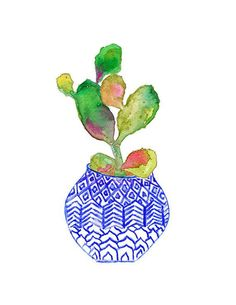 Blue & White Vase with Cactus Watercolor Painting. Illustration Cactus, Botanical Illustration, Cactus Plante, Pot Plante, Watercolor Cactus, Watercolor Paintings, Cactus Painting, Flower Paintings, Watercolor Print