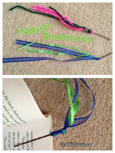 Make a bookmark using hairpins and ribbons.    #kidscrafts #bookmarks